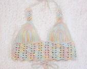 Rainbow Candy Lace Crop Top - Handmade Crochet Halter Top - Vegan Clothing - Pastel Cotton Bralette - Made to Order - Noelebelle