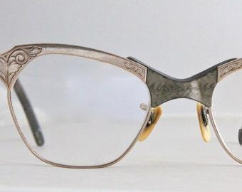 Vintage 50's Engraved Green 12K Cat Eye Eyeglasses