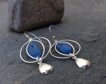 Sea glass jewelry,  Blue sea glass and sterling silver circle and teardrop earrings