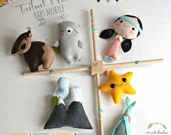 Mountains Baby Mobile, Native Tribal Crib mobile, Tribal Baby Mobile, Baby Mobile Girl, Happy Camper Baby, Baby Mobile Woodland,