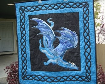 Quilted Dragon Wall Hanging, Dragon Art, Fantasy Art