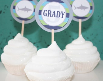 PREPPY SHARK Happy Birthday or Baby Shower Party Cupcake Toppers You Pick Colors Set of 12 {One Dozen} Green Blue