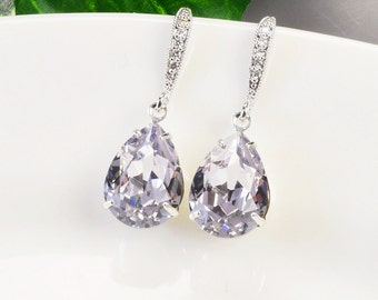 Lavender Earrings - Crystal Drop Earrings Silver - Purple Earrings - Swarovski Earrings - Bridesmaids Gifts Jewelry - Wedding Earrings