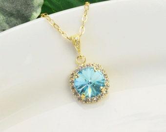 Turquoise Blue Necklace - Gold Aqua Blue Bridesmaid Necklace - Swarovski Crystal Pendant Necklace - Blue Bridesmaid Jewelry - Wedding