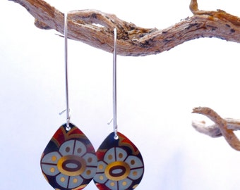 """70's Floral Pattern Earrings // """"Calendula"""" Upcycled Vintage Jewelry // Repurposed Jewelry"""