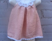Linen organic flower dress for baby and tollders  tunic crochet   sew
