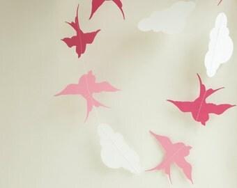 pink birds and white clouds garland baby girl newborn gift decoration
