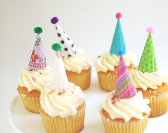 12 mini party hat cupcake toppers - pretties