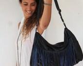 Oversize Blue Leather Bag. fringed leather bag, OOAK, on SALE, sexy blue shoulder bag, big leather bag