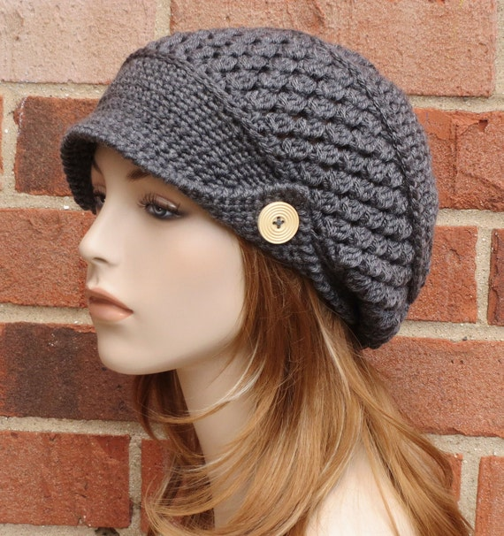 Crochet Newsboy Hat - Charcoal Grey Hat - Womens Slouchy Newsboy ...