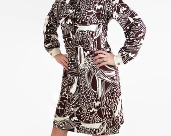 60s 70s Mod Dress / Dutchmaid / Mad Men / Office Fashion / Shirt dress / Abstact Print / Brown
