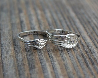 Personalized Customized Angel Wing Rings 4 & 5 Ring Set, Sterling Silver Mother Daughter Ring Set, Angel feather wing ring, simple dainty