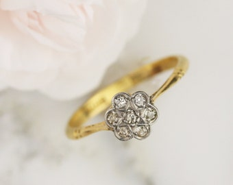 Art Deco 18k Gold and Platinum Diamond Star Cluster Engagement Ring