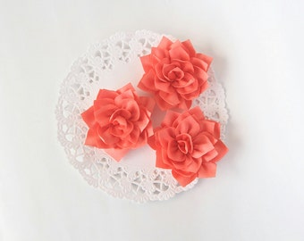 "3 pcs - Salmon double satin flowers - Frayed Flower - Fabric Flower - 2 1/4"" Flowers"