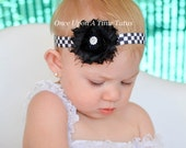 Checkered Flag Shabby Flower Headband - Little Girls or Teen Racing Hairbow - Choice of Color or Team Hair Bow - Black and White