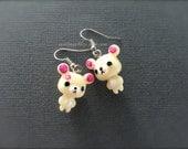 Off White Teddy Bear Earrings. Kawaii Cute. Adorable Bears. Cuteness. Pink and White Whimsical. Silver Hooks. Drop Earrings. Under 10 Gifts.