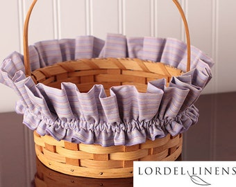 Lavender Stripe Medium Basket Garter, Pink and Yellow Stripes, Modern Home Decor, Decorated Basket