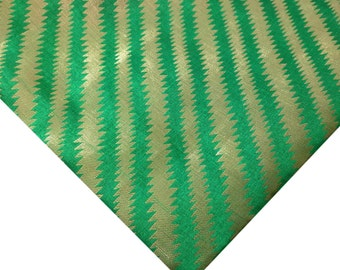 Banaras Polyester Silk Fabric By Yard- Green and Gold Diagonal Pattern Poly Silk Fabric