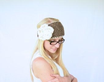 Knitted Flower Headband, Chunky Knitted Headband || The Katelyn