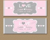 Wedding Candy Wrappers - Printable Candy Labels - Personalized Wedding Party Favors - Bridal Candy Wrappers - Blush Pink and Grey