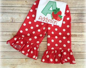 Strawberry Theme Shirt with Matching Boutique Ruffle Pants