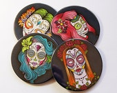 Sugar Skull Coasters, Drink Coasters, Wine Coasters, Coasters, Day of the Dead, Día de Muertos, Sugar Skull, Skull, Halloween (5023)
