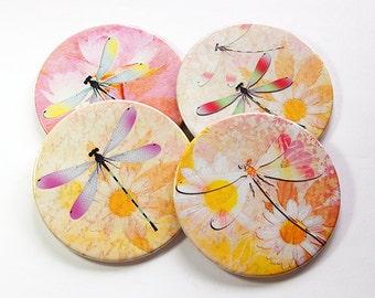 Dragonfly Coasters, Daisy Coasters, Drink Coasters, Coasters, Barware, Pink, Yellow, Dragonfly, Daisy, Flower coasters (5064)