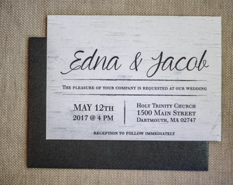 Invitation and RSVP Set- Birch, Typography- Black and White with Ribbon