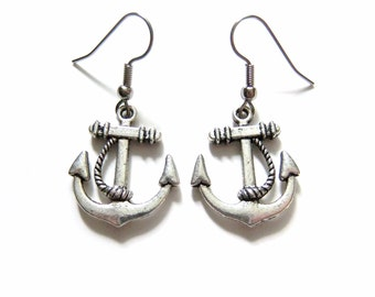 Silver Anchor Earrings Jewelry Nautical Jewelry Earings Nautical Earrings Accessories