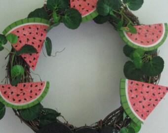 Watermelon wreath, ant, wall decor, door decor, door hanging, watermelon, wreath, grapevine