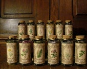 Witches Flower Garden~ Set of 12 Filled Jars, flowers, jars, apothecary, tansy, clover, lavender, Broom, Lilac, Rose, Hibiscus, Jasmine