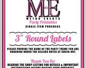 Round Labels, Printable Files, Single Item, Metro-Events