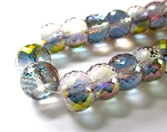 Iridescent Crystal Rondelle Beads. 12mm x 9mm Big Chunky Beads. Faceted Roundelles. Fire Polished Glass Beads - 20 Pieces