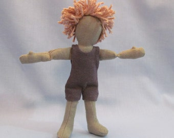 """SALE 7"""" Eco-friendly sage gren doll with tan cotton hair and a grey up-cycled cotton knit outfit"""