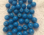 Turquoise Round Glass Beads, Dark Blue with Black Splatter 8mm Round Beads  - 40 count