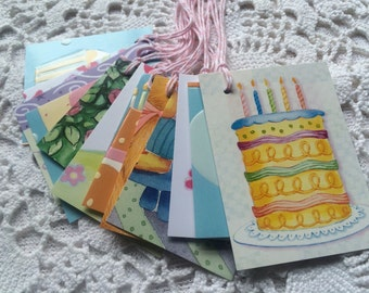 Gift Tags, Birthday Party, Birthday Cake, Upcycled Favor Labels - Set of 12