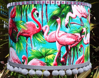 Turquoise Flamingo Fabric Lamp Shade or Ceiling Lampshade with Palm Leaf Print - Quirky Home Decor