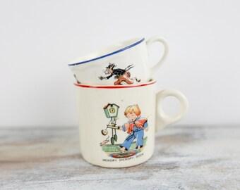 Vintage 1930's Nursery Rhyme ceramic mugs (set of 2)