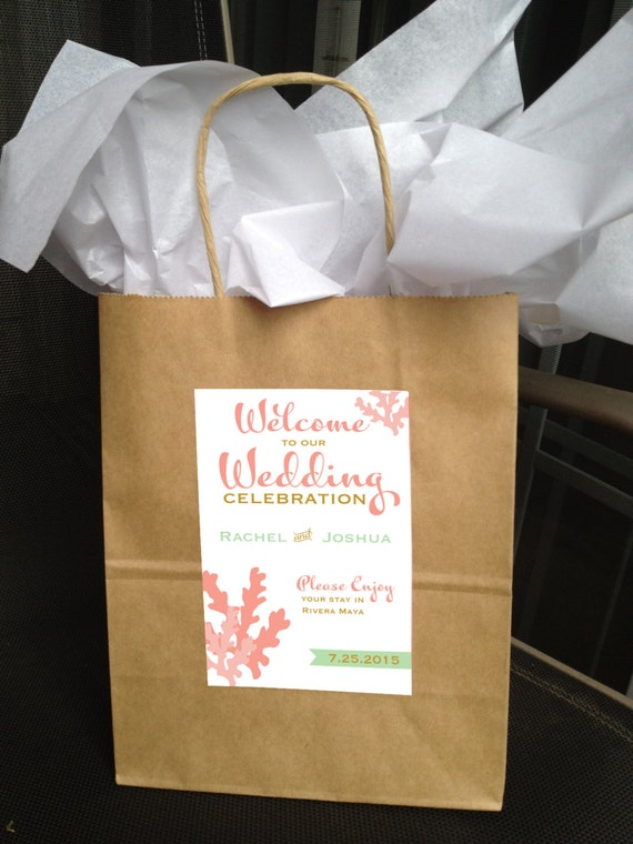 Coral Welcome Bag Labels  - You Choose Colors - LOVELY LITTLE PARTY