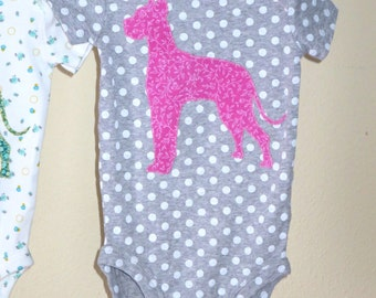 Pick your DOG BREED!  Custom baby girl bodysuit with dog breed of your choice