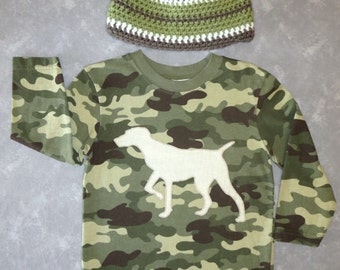 Camo shirt & hat SET - Size 3T - Ready to mail - SALE!