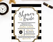 Bridal Shower Invitation - Gold Glitter Bridal Shower Invitation - Black & White Bridal Shower Invitation - Bridal Shower Printable - Invite