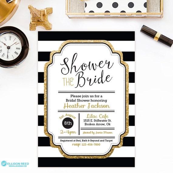Bridal shower invitation gold glitter bridal shower for Black and white bridal shower invitations