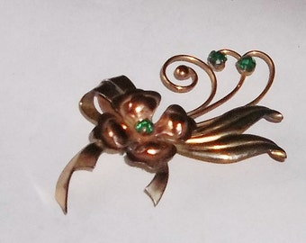 Vintage Harry Iskin Flower Pin, Gold Filled ca1940