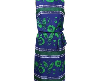 vintage 1970's LESLIE FAY maxi dress / blue green / floral / polyester / spring summer / 70s dress / women's vintage dress / tag size 12