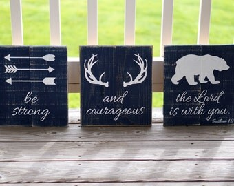 Be Strong And Courageous Sign, Woodland Nursery, Antlers Sign, Set of 3 Signs, Joshua 1 9, Rustic Reclaimed Wood, Each Sign 11 x 12 inches
