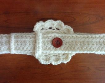 Handmade Cream Crochet Decorative Belt/ Button Closure