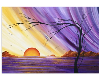 Purple & Gold Landscape 'Royal Sunset' Contemporary Seaside Wall Decor, Abstract Tree Artwork, Modern Oceanside Painting Metal Giclée Art