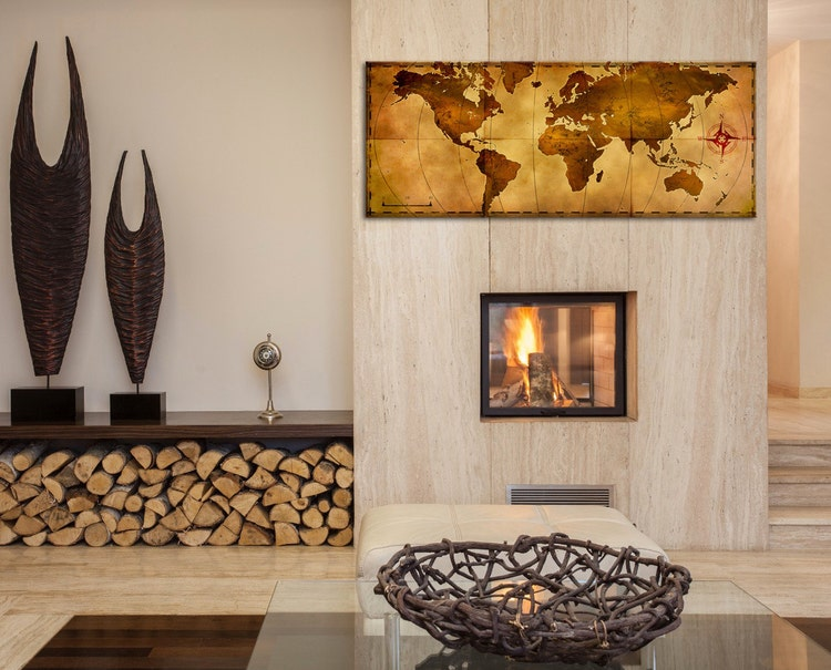 World Map Wall Art Old World Map Aged Antique By Moderncrowd