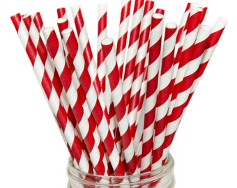 Red Striped Paper Straw, Fourth of July, Valentine's Day